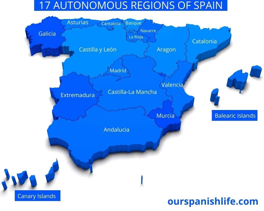 Map of the autonomous regions of Spain