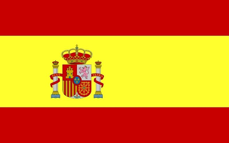 Spain is made up of 17 autonomous regions. This image shows the red and yellow flag of Spain.
